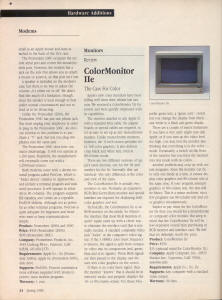 Review of ColorMonitor IIe from The Apple II Review (Spring 1986)